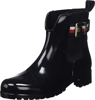 1aaec8e82 Tommy Hilfiger Womens Corporate Belt Rain Boot Wellington (Black 990)