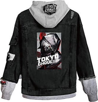 Cosstars Anime Tokyo Ghoul Kaneki Ken Hooded Denim Jacket Unisex Cosplay Button Trucker Jeans Coat Black-6-XXL