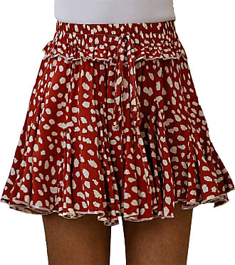 QIYUN.Z Womens Summer Cute High Waist Ruffle Skirt Floral Print Swing Beach Mini Skirt Brick red XL