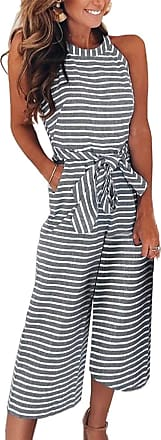 FeelinGirl Womens Striped Jumpsuits High Waisted with Belt All in one Playsuit (Black, UK 16-18 XXL)