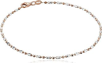 Amazon Collection Italian Rose-Tone and Polished Sterling Silver Mezzaluna Chain Anklet, 9