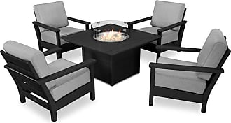 POLYWOOD Outdoor POLYWOOD Harbour 5 Piece Conversation Set with Fire Pit Table Antique Beige - PWS413-2-TE8322