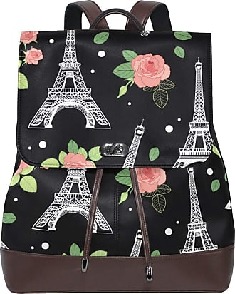 Ahomy Ladies Fashion PU Leather Backpack Eifel Tower Paris And Roses Flowers Anti-Theft Rucksack Shoulder Bag