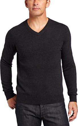 Williams Cashmere Mens 100% Cashmere V-Neck Sweater, Charcoal, Small