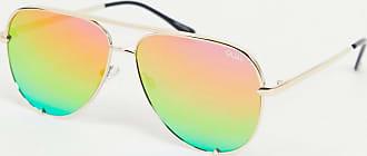 Quay High Key aviator sunglasses in gold with rainbow lens