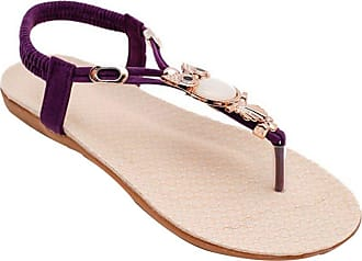 YOUJIA Women Beaded Boho Beach Round Clip Toe Sandals Flip Flops Flat Elastic T-Strap Thong Sandals Shoes (Purple, 6 UK)