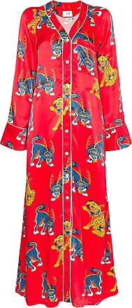 Kirin Vestido Haetae com estampa - Vermelho