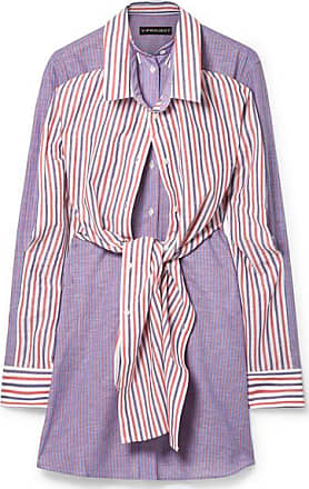 Y / Project Layered Striped Cotton And Linen-blend Mini Dress