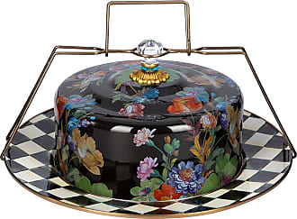 MacKenzie-Childs Flower Market Enamel Cake Carrier - Black