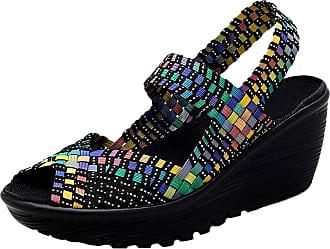 Insun Womens Woven Slip On Wedge Shoes Multi Black 2 UK 4.5
