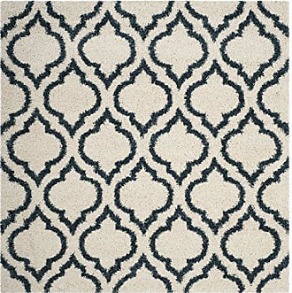 Safavieh Hudson Shag Collection SGH284T Ivory and Slate Blue Moroccan Geometric Square Area Rug (7 Square)