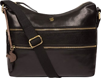 Pure Luxuries London Conkca London Georgia Womens 29cm Biodegradable Leather Shoulder Bag with Zip Over Top, 100% Cotton Lining and Adjustable Webbed Canvas Strap in Black