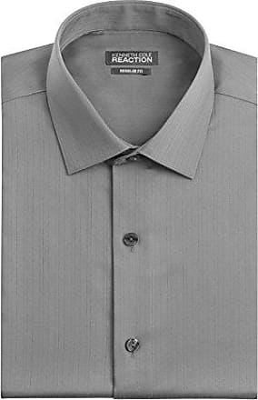 Kenneth Cole Reaction Kenneth Cole Mens Textured Regular Fit Solid Spread Collar Dress Shirt, Grey, 15.5 Neck 36-37 Sleeve