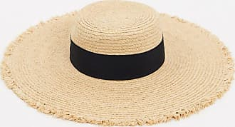Warehouse frayed edge straw boater hat in tan