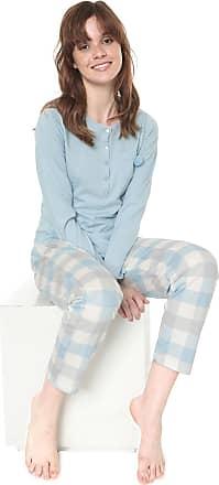 Pzama Pijama Pzama Botões Azul/Off-white
