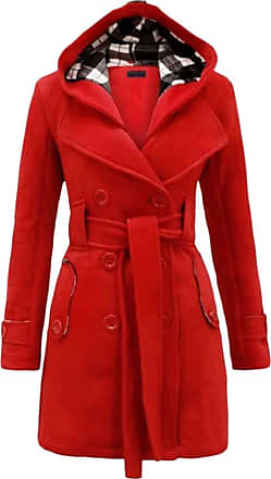 Yonglan Womens Duffle Coat Woolen Blend Trench Casual Hooded Double-Breasted Windbreaker with Blet Watermelon Red M
