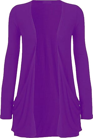 ZEE FASHION New Ladies Womens Long Sleeves Plus Size Boyfriend Cardigan Top UK 8-24 (XXXL (UK 22/24), Purple)