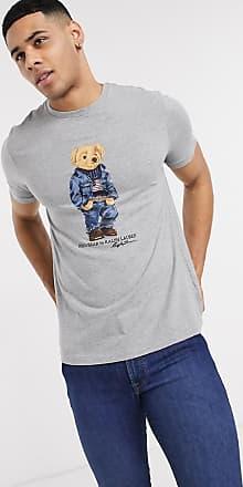 Polo Ralph Lauren T-shirt con orso in jeans grigio mélange