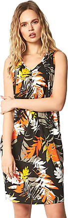 Roman Originals Women Slouch Pocket Printed Cocoon Dress - Ladies Stretch Jersey Sleeveless Casual Holiday Summer Harem Oversized Loose - Orange - Size 10