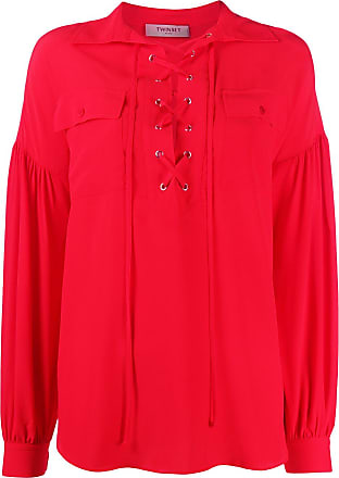 Twin-Set lace-up loose-fit blouse - Red