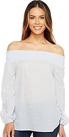 Calvin Klein Womens Pinstripe Off The Shoulder Top, Chambray/White, XL