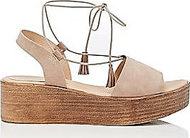 Barneys New York Womens Suede Ankle-Tie Wedge Sandals - Neutral Size 11