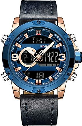 NAVIFORCE Relógio Masculino Naviforce NF9097 RGBE Pulseira em Couro - Azul e Dourado
