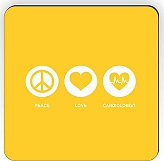 Rikki Knight Rikki Knight Peace Love Cardiologist Design Square Fridge Magnet, Yellow