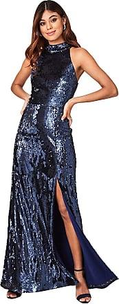 Little Mistress Nicky Navy Sequin Maxi Dress 12 UK Navy