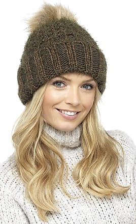 Foxbury Ladies Chunky Knit Hat with Faux Fur Bobble Green