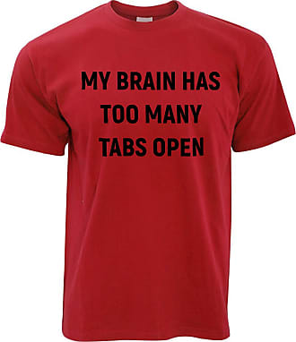 Tim And Ted Novelty Nerd T Shirt My Brain Has Too Many Tabs Open - (Red/XX-Large)