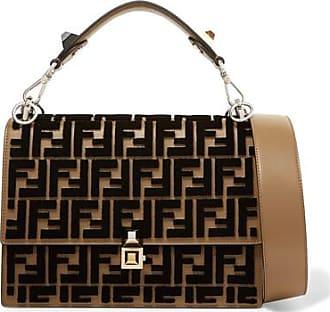 a2ddc93305 ... sale fendi kan i flocked leather shoulder bag brown 481c1 f1356 ...
