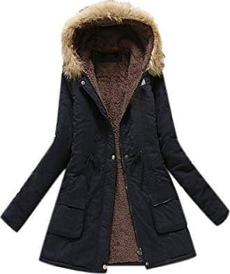 9523c69e893c41 Minetom Damen Winterantel Wattierter Parka Coat mit Pelzkapuze Winterparka  Warme Lang Winter Mäntel Outdoorjacke Outwear Schwarz