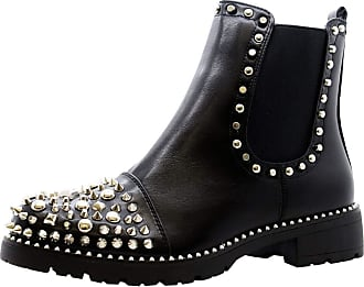 Saute Styles Ladies Women Chunky Block Heels Goth Punk Chelsea Ankle Boots Shoe Size 3-8 (5 UK, Black Pu Silver)