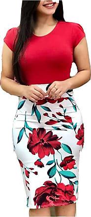 Efinny Womens Retro Floral Printed Midi Bodycon Wrap Dress Short Sleeve Evening Party Dress (Medium)