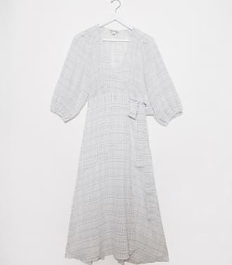 Whistles Whisles Catalina volume sleeve wrap dress in white