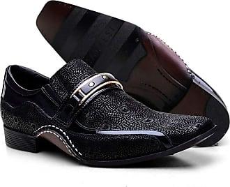 Calvest Sapato Social Masculino Calvest Preto com Metal Dourado Estampado 1930C229-38