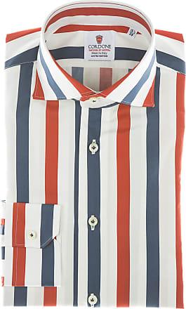 Cordone 1956 Camicia sartoriale Mod. Cotton Big Stripes Red And Blu - Tessuto cotone - popeline - Colore bianco - Taglia 37
