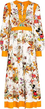 Gucci x Disney floral-print midi dress - White