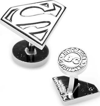 Zales Mens DC Comics Superman Shield Silver Enamel Cuff Links in White Rhodium Brass
