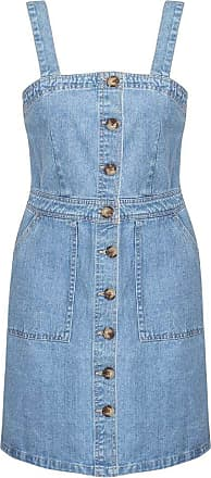 Shelikes Womens Ladies Denim Blue Button Up Vintage Wash Stretch Pinafore Dungaree Dress [UK 14]
