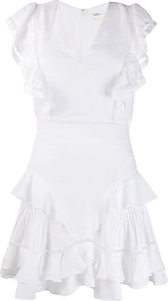 Isabel Marant Vestido Audrey sem mangas com babados - Branco