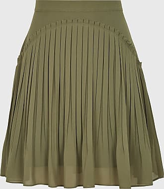 Reiss Orelle - Pleated Mini Skirt in Green, Womens, Size 14