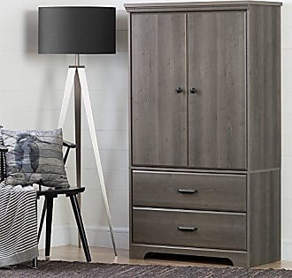 South Shore Furniture 2-Door Armoire with Adjustable Shelves and Storage Drawers, Gray Maple