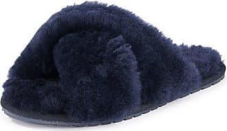 Emu Lammfell-Pantolette Emu blau