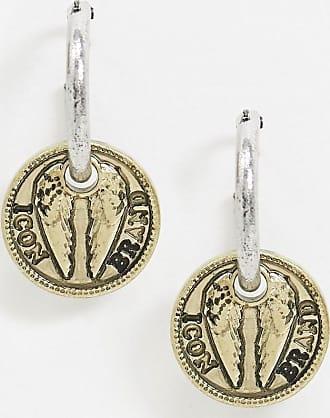 Icon Brand Orecchini a cerchio con ciondolo a moneta in metallo misto-Multicolore