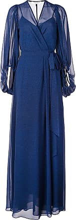 Halston Heritage long wrap evening dress - Blue