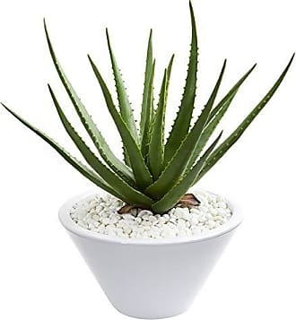 Nearly Natural 9061 Aloe Artificial White Bowl Planter Silk Plants Green