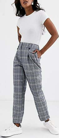 Warehouse pleated peg trouser in grey check