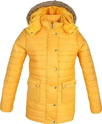 Parsa Fashions Ladies Quilted Padded Puffer Jacket Fur Hooded Zipper Buttons Bubble Warm Thick Womens Winter Jacket Coat (L, Mustard)